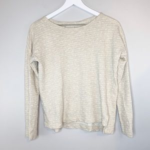 Lou & Grey Sweater Long Sleeve Cream Polka Dot Top